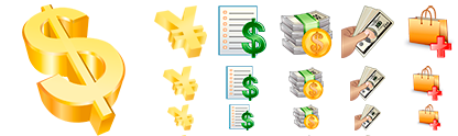 Several examples of the Business Icons Pack.
