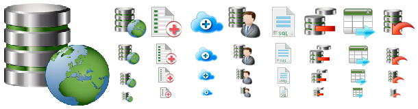Several examples of the Database Icons Pack.