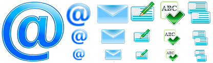 Several examples of the Email Icons Pack.