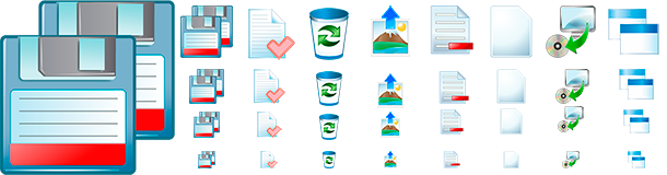 Several examples of the Toolbar Icons Pack.